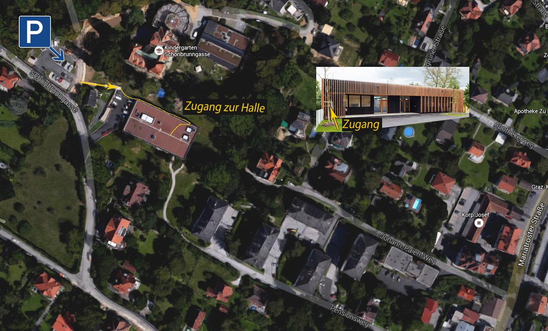 Parkplatz / Hallenzugang